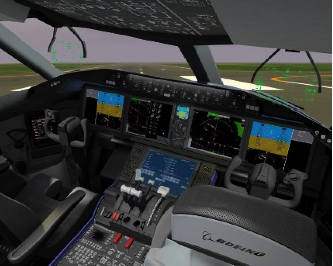 image of an airplane cockpit simulator