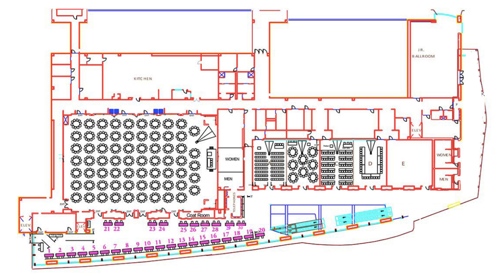 map of third floor booths