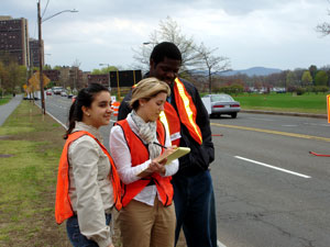 Image of students conducting traffic research