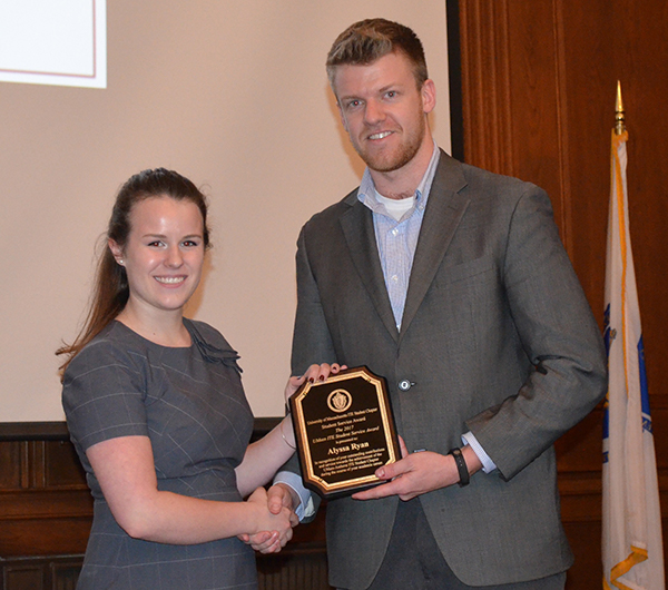 Photo of Alyssa Ryan receiving award