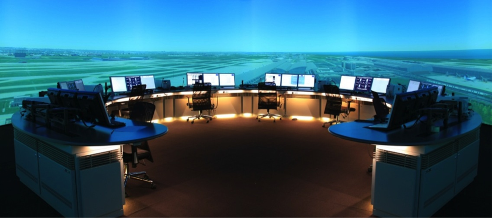 image of an air traffic control simulator