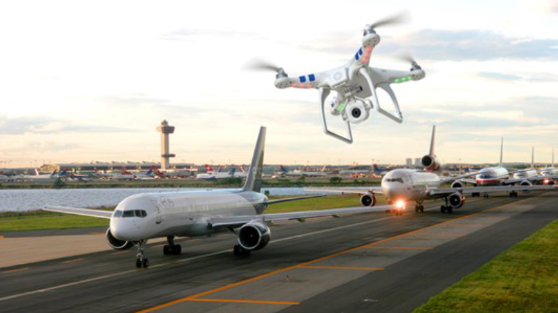 Image of drone near aircraft on runway