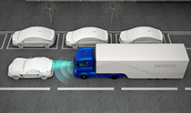 Graphic of truck with forward sensor