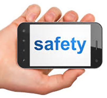 Photo of hand holding mobile phone with the word safety on it